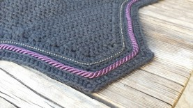 Black with a row of size 1 black crystals and a row of purple cord.