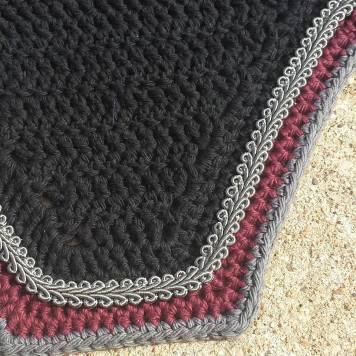Black, maroon, grey with grey scroll cord
