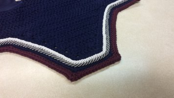 Navy, maroon with a row of white and grey cord.