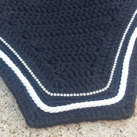 Black with a row of crystals and white cord.