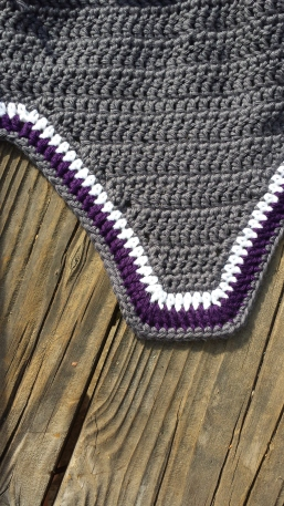 Grey, white, purple and grey narrow square front bonnet