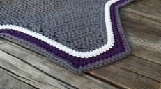 Grey, purple, grey with white scroll trim