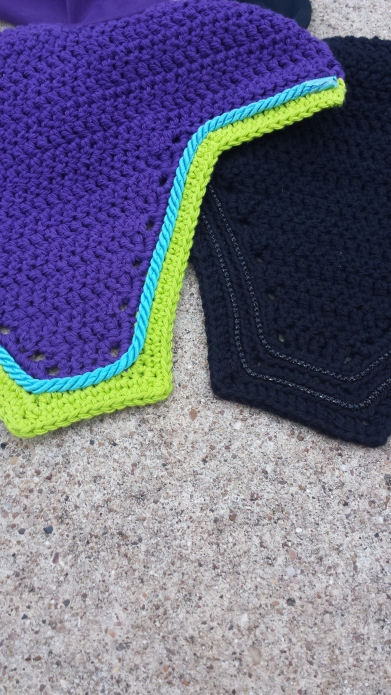 Left- Purple and lime with turquoise cord. Right- Black with 2 rows of black crystals