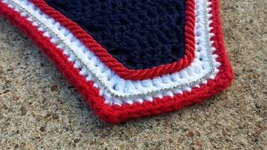 Navy, white, red with red cord and size 1 crystals