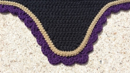 Black with purple scallops and gold scroll cord