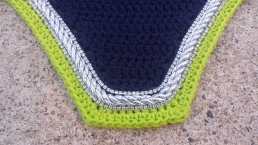 Navy, lime with silver cord and 2 rows of crystals