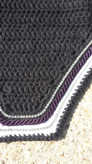 Black, white, black with purple cord and 2 rows of crystals