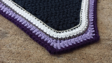 Charcoal, light purple, dark purple with white scroll cord, clear crystals and dark purple crystals