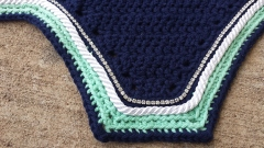 Navy, mint, navy with white cord and crystals