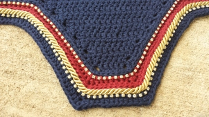 Navy, dark red, navy with gold cord and 2 rows of size 3 crystals