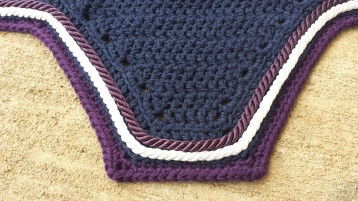 Navy, purple with a row each of purple and white cord